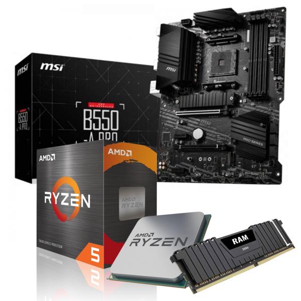 Aufrüst-Kit: MSI B550-A Pro - AMD Ryzen 5 5600X 6x 3.7 GHz - 16GB DDR4-3200 - ohne Grafik