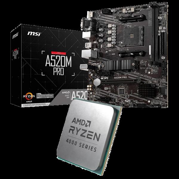 Aufrüst-Kit: MSI A520M-A Pro - AMD Ryzen 3 4300GE 4x 3.50 GHz - AMD Radeon Graphics