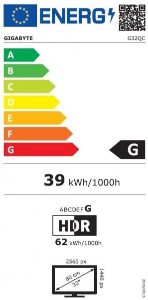 31.5 (80 cm) Gigabyte G32QC - 165 Hz - Curved - 2x HDMI, 1x DisplayPort'